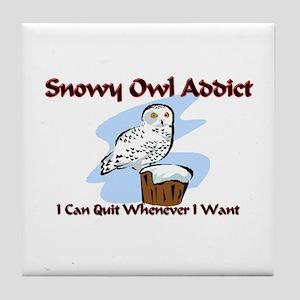 Snowy Owl Addict Tile Coaster