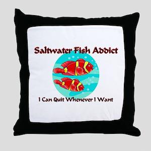 Saltwater Fish Addict Throw Pillow