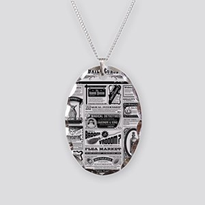 Creepy Newspaper Necklace Oval Charm