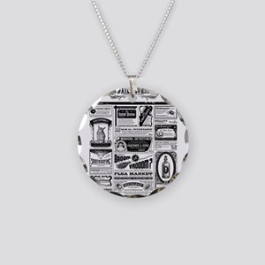 Creepy Newspaper Necklace Circle Charm
