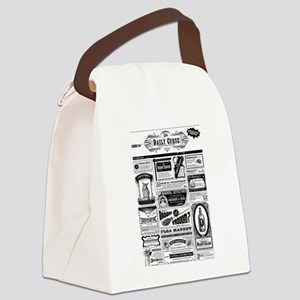 Creepy Newspaper Canvas Lunch Bag