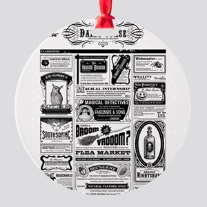 Creepy Newspaper Round Ornament