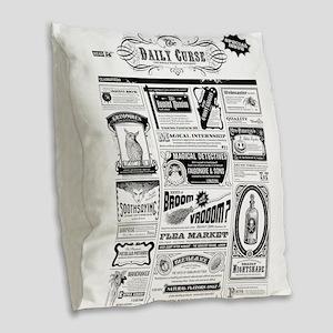 Creepy Newspaper Burlap Throw Pillow