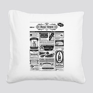 Creepy Newspaper Square Canvas Pillow