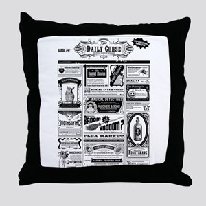 Creepy Newspaper Throw Pillow