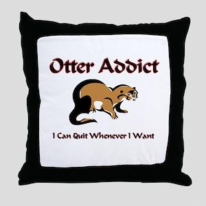 Otter Addict Throw Pillow
