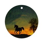 AFTM Old Black Stallion At Sunrise Round Ornament