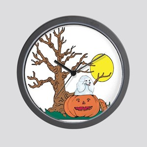 Halloween Pumpkin Poodle Wall Clock