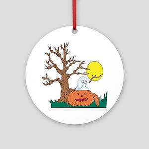 Halloween Pumpkin Poodle Ornament (Round)