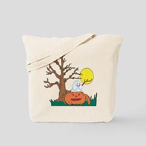 Halloween Pumpkin Poodle Tote Bag