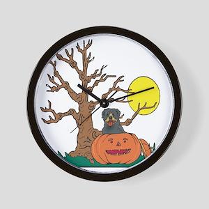 Pumpkin Rottweiler Wall Clock