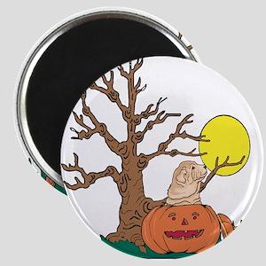 Halloween Pumpkin SharPei Magnet