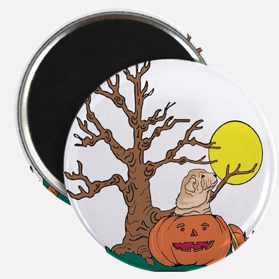 """Halloween Pumpkin SharPei 2.25"""" Magnet (100 pack)"""