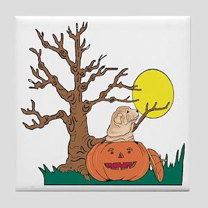 Halloween Pumpkin SharPei Tile Coaster