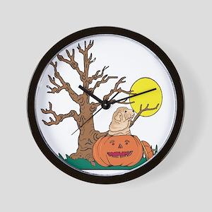 Halloween Pumpkin SharPei Wall Clock