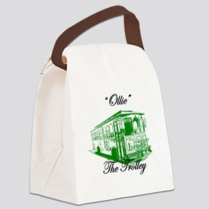 AFTMOllieTheTrolleySideGreen Canvas Lunch Bag