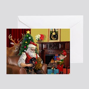 Santa's 2 Doxies (R+B) Greeting Cards (Pk of 20)