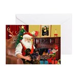 Santa's 2 Doxies (blk) Greeting Cards (Pk of 10)