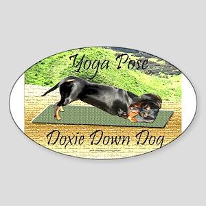 Yoga Down Dog Dachshund Oval Sticker