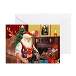 Santa's 2 Dobermans Greeting Cards (Pk of 10)