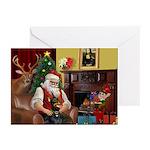 Santa's Dobie (Bz) Greeting Cards (Pk of 20)