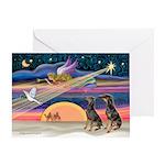 XmasStar/2 Dobies Greeting Card
