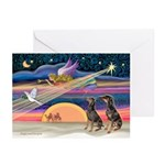 XmasStar/2 Dobies Greeting Cards (Pk of 10)