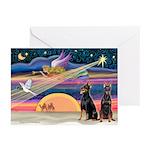 XmasStar/2 Dobies (P2) Greeting Cards (Pk of 10)