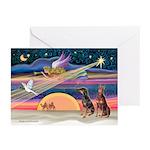 XmasStar/2 Dobies (B+R) Greeting Cards (Pk of 10)