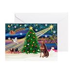 Xmas Magic/Red Dobie Greeting Card