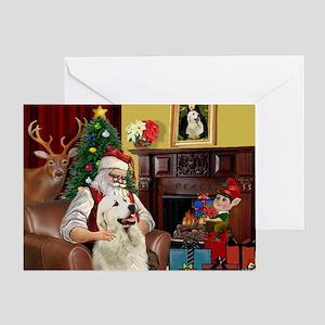 Santa's Great Pyrenees Greeting Card