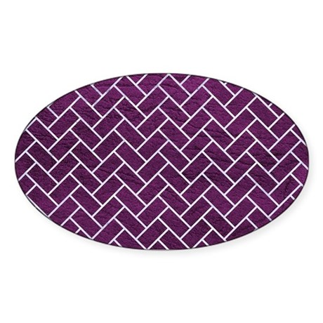 BRICK2 WHITE MARBLE & PURPLE LEATHE Sticker (Oval)