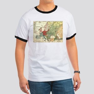 Vintage Linguistic Map of Europe (1907) T-Shirt
