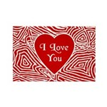 I Love You Heart Rectangle Magnet (10 pack)