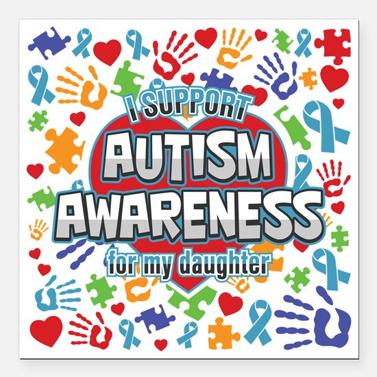 """Support Autism Awareness Square Car Magnet 3"""" x 3"""""""