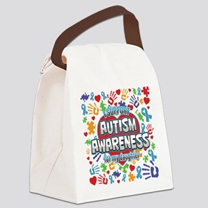 Support Autism Awareness Daughter Canvas Lunch Bag