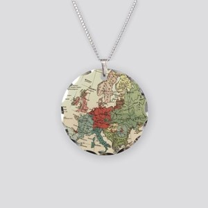 Vintage Linguistic Map of Eu Necklace Circle Charm