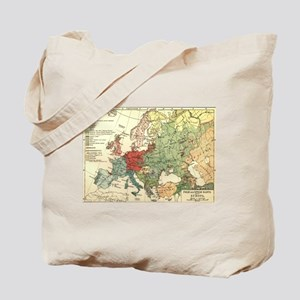 Vintage Linguistic Map of Europe (1907) Tote Bag