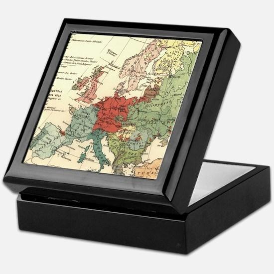 Vintage Linguistic Map of Europe (190 Keepsake Box