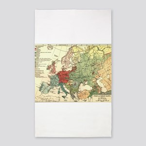 Vintage Linguistic Map of Europe (1907) Area Rug