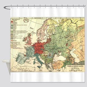 Vintage Linguistic Map of Europe (1 Shower Curtain