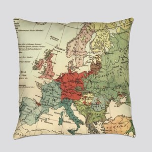 Vintage Linguistic Map of Europe ( Everyday Pillow