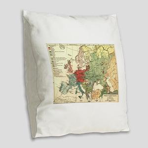 Vintage Linguistic Map of Euro Burlap Throw Pillow