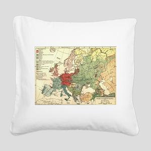 Vintage Linguistic Map of Eur Square Canvas Pillow