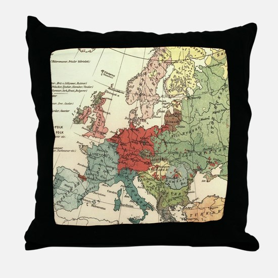 Vintage Linguistic Map of Europe (190 Throw Pillow