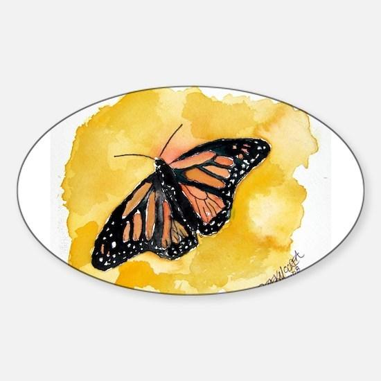 Orange monarch butterfly fine Oval Decal