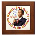 Barack Obama Drug Test Framed Tile