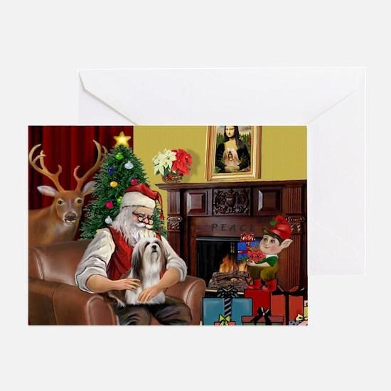 Santa's Lhasa Apso Greeting Card