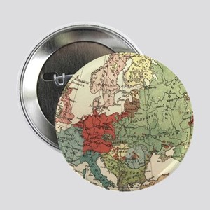 """Vintage Linguistic Map of Europe (190 2.25"""" Button"""
