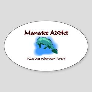 Manatee Addict Oval Sticker